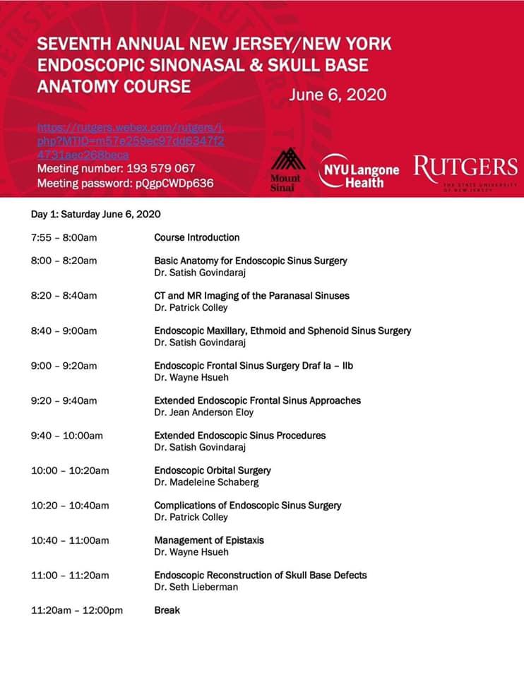 Професор ЛОР-відділення J Anderson Eloy університетської клініки Rutgers проводить онлайн-курс з ендоскопічної ринохірургії для резидентів та лікарів.